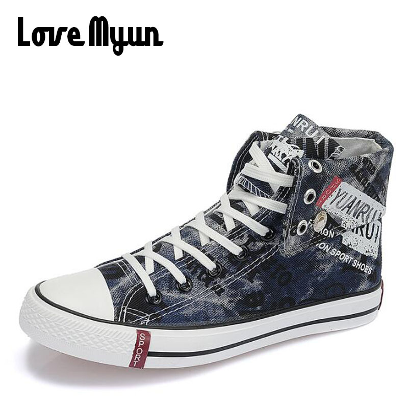 Women Fashion Spring Summer High top White Graffiti / Letter ShoeS Girl student Canvas Shoe Comfortable Casual Sneakers HH-944