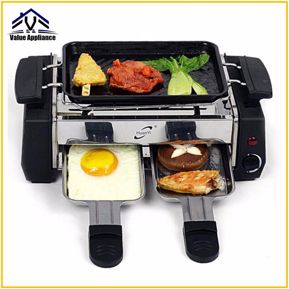 Quality 1000W Non-sticky Family Barbecue Electric Raclette Grill for 2 to 4 Person Smokeless Grill Raclette Electric Griddle 1200w 220v non sticky family barbecue electric raclette grill smokeless grill raclette grill electric griddle
