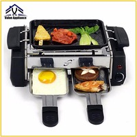Quality 1000W Non sticky Family Barbecue Electric Raclette Grill for 2 to 4 Person Smokeless Grill Raclette Electric Griddle