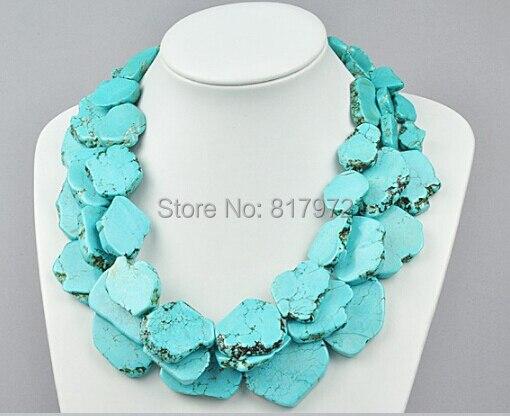 Mariage femme bleu clair tranche pierre collier femme parti exagéré collier 3 layerbijoux