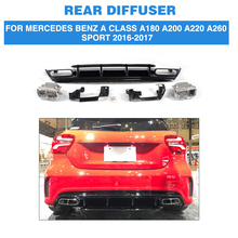 PP Car Rear Bumper Diffuser Lip With Exhaust Muffler For Mercedes Benz A Class A180 A200 A220 A260 Sport Hatchback 4 Door 16-17