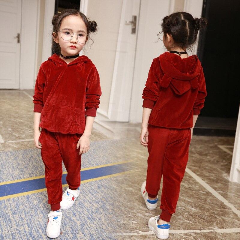 где купить Children's clothing boys and girls gold velvet suit 2017 new children's spring and Autumn casual long-sleeved shirt + pants по лучшей цене