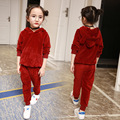Children's clothing boys and girls gold velvet suit 2017 new children's spring and Autumn casual long-sleeved shirt + pants