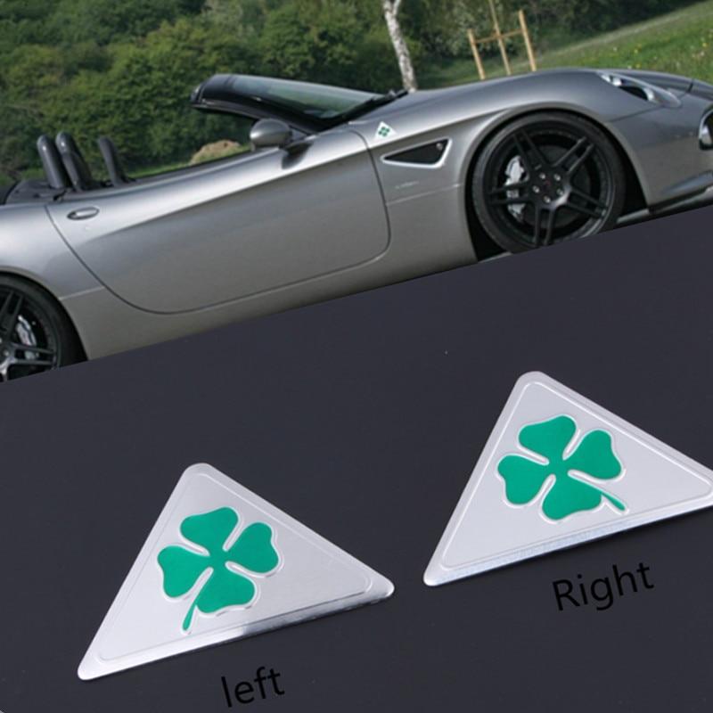 2pcs Emblem Badge Sticker quatrefoil green delta Alfa Romeo Car Side Fender  for Giulietta Giulia Spider GT  car sticker