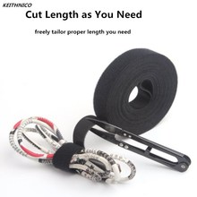 KEITHNICO Black Nylon Cable Ties Wrapped Cord Line Reusable Wire Organizer Management Hook Loop Magic Tape Cable Winder