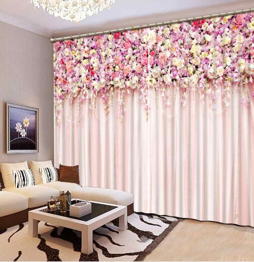 Custom 3D Window Curtain Photo Window Curtain Living Room Bedroom Pink Drapes Romantic Wedding Room Decoration