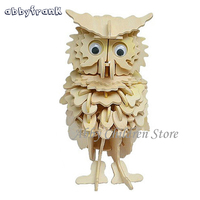 3D Wood Animal Owl Model Kit Puzzle DIY Woodcraft Handmade Educationa Learning Adult Children Toy Free