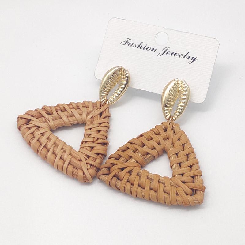 Bohemian Wicker Rattan Knit Pendant Earrings Handmade Wood Vine Weave Geometry Round Statement Long Earrings for Women Jewelry 16