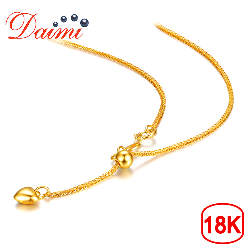 DAIMI 18K Love Pendant White/Yellow/Rose Gold Chain 1.83g 65cm Pure Gold Necklace Chain Adjustable Necklace Chain Jewelry Gift yoursfs heart necklace for mother s day with round austria crystal gift 18k white gold plated