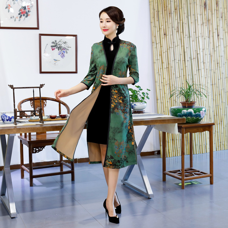 Elegant Half Sleeve Women Long Qipao Autumn New Velvet 2PCS Cheongsam Suit Vintage Chinese Style Mother Dress Big Size M-3XL