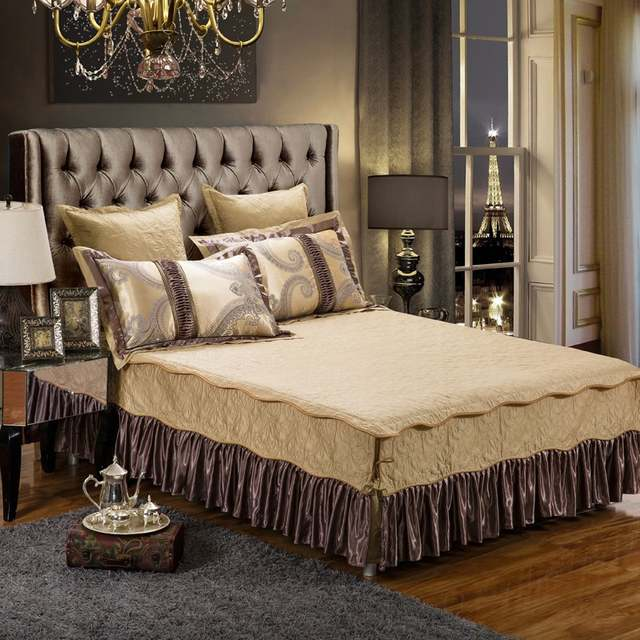 4 6 Pieces Luxury Cotton Bed Spread Set Golden Brown Satin Bedding Set Cotton King Queen Size Bed Duvet Cover Set Pillowcases