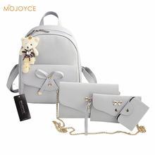 4 шт. изысканные Дамские туфли из PU искусственной кожи рюкзак сумка клатч бантом рюкзак простой женский рюкзак Mochilas Эсколар
