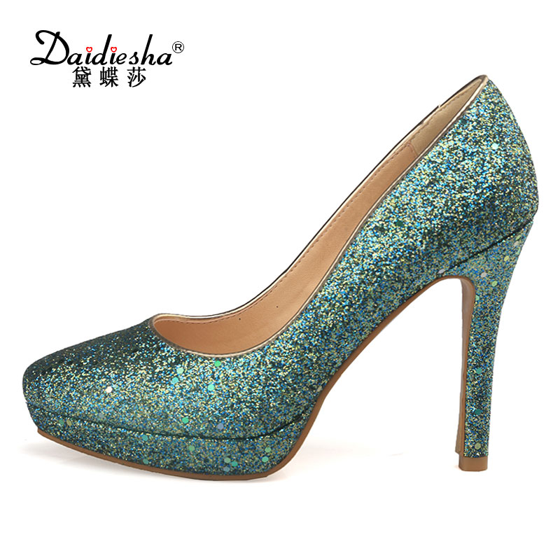 Daidiesha Women Pumps Glitter High Heels Platform Shoes Sexy Bling Ladies Party Wedding Shoes Club Heels Zapatos Mujer Silver