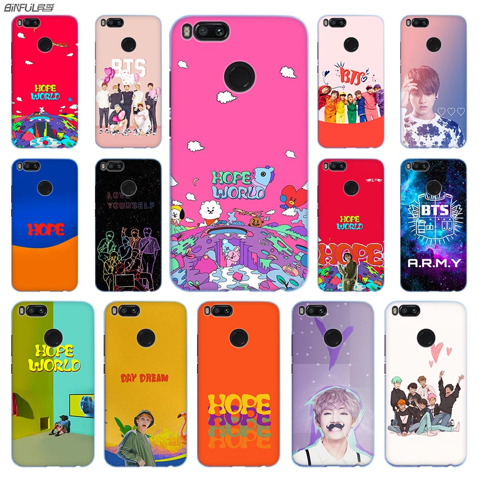ARMY Bangtan Boys BTS HOPE Anime Phone Case PC for Xiaomi Mi 8 8SE 5X 6x A2 Lite Pocophone f1 Mix 2s Max 2 3 64G Cover
