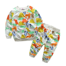 Girl Casual Clothes Suit O Collar Cartoon Hoodie Sweater T-shirt + Trousers Suit Children's Soft Sportswear Suits