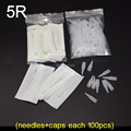 5R (Needles +Tips each 100pcs) Profession Sterilized Permanent Makeup Needles With Tips