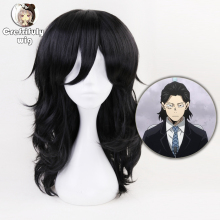Anime My Hero Academia Akademia Shouta Aizawa 45cm Black Wavy Wig Heat Resistant Synthetic Cosplay Costume Wig +Free Wig Cap цена