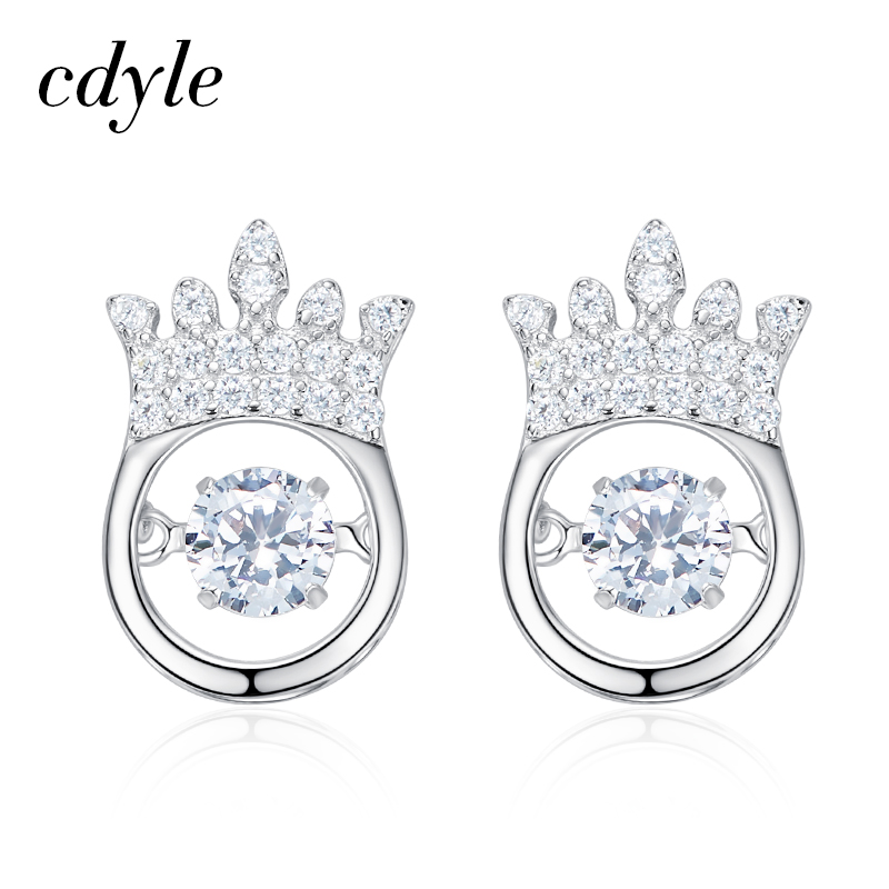 Cdyle Stud Earrings Women Earrings S925 Sterling Silver Jewelry Elegant  Dancing Stone Crystals Jewerlry New Earrings Bijous 4461d024ca06