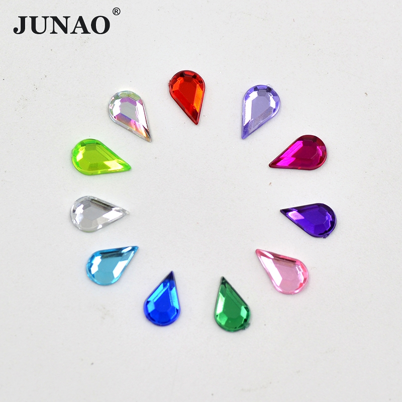 JUNAO 5 8mm Mix Color Drop Rhinestones Clear AB Strass Crystals Flatback Acrylic  Stones Non Sewing Scrapbook Beads For DIY Dress 5564ecc070c1