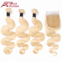 Dream Beauty 613 Blonde Remy Hair Body Wave Brazilian Hair Weave Bundles With Lace Closures Blonde
