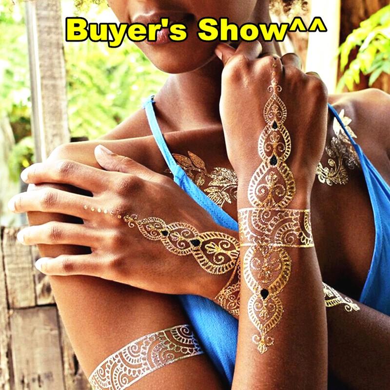Nu-TATY 24 style Temporary Tattoo Body Art, Lace Desgin Gold Designs, Flash Tattoo Sticker Keep 3-5 days Waterproof 21*15cm 21