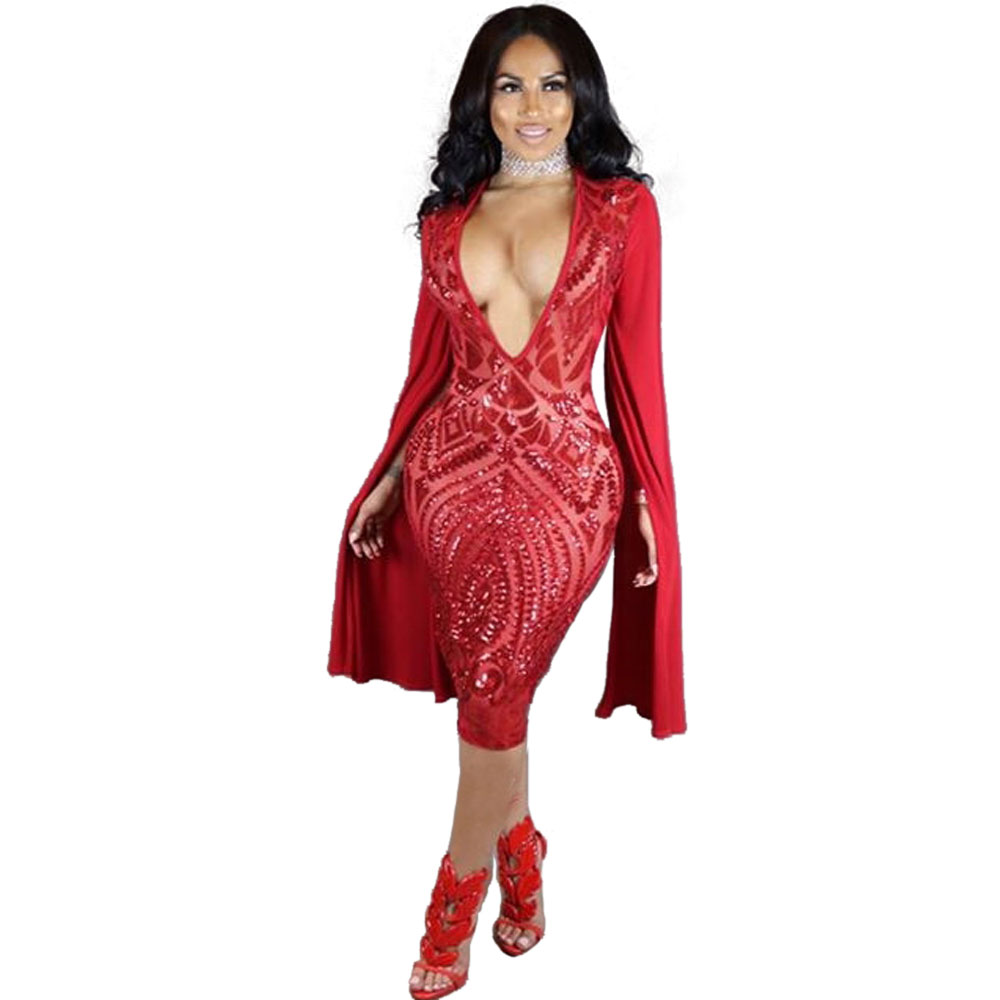Wendywu Special Design Sequined Deep V-Neck Split Long Sleeve Red Knee-Length Bodycon Dress