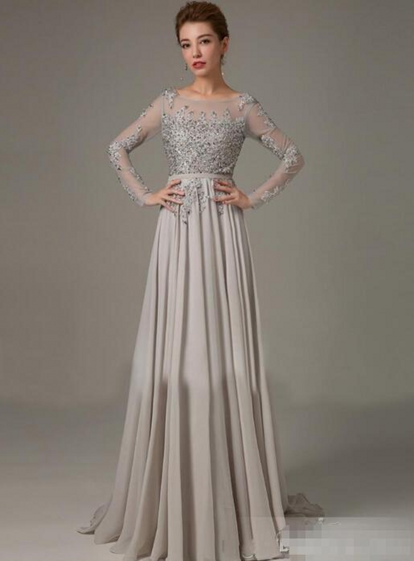 Long Sleeve Chiffon Mother of the Bride Formal Gown