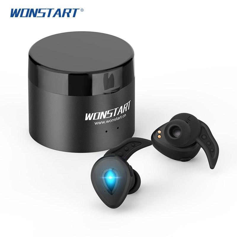 Wonstart W305 TWS inalámbrico USB Bluetooth auriculares inalámbricos auriculares deportivos con micrófono audifono auricular bluetooth con la caja de alimentación