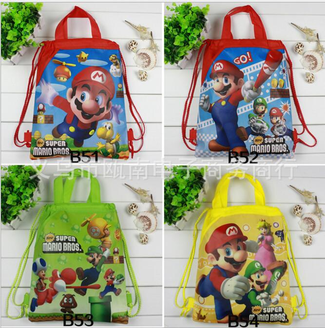 12Pcs Super Mario Cartoon Children School Bags Cartoon Drawstring Bag Shopping Bag Beach Birthday Party Bag free shipping 20pcs lot monsters university cartoon drawstring backpack bag children kids bag 34x27cm schoobag party gift