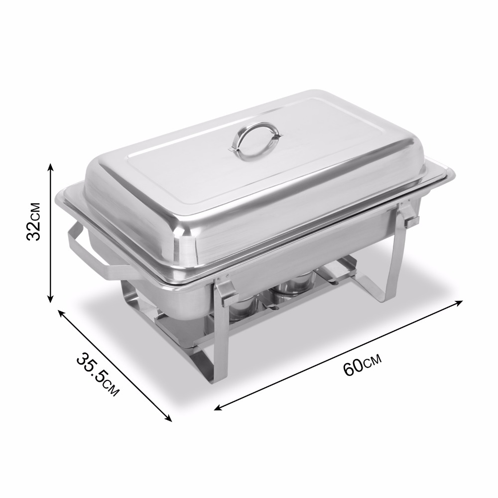 4 pack 9 quart stainless steel folding chafer rectangular chafing dish sets