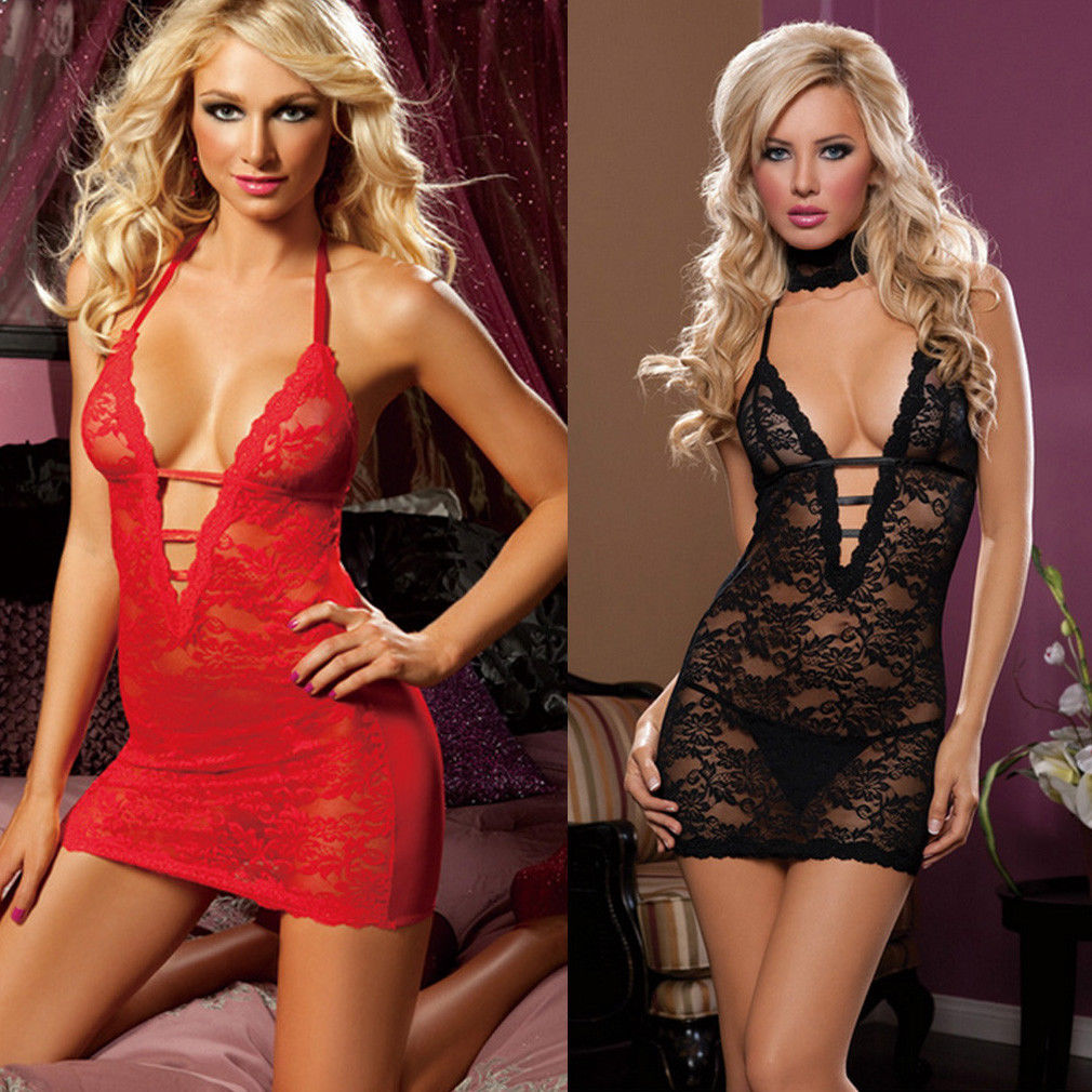 3Pcs Lingerie Women Sexy-Lingerie Babydoll Lace Dress Sleepwear Underwear Thong G-String Nightwear Set