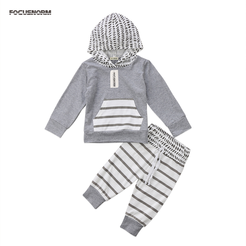 2PCS New Casual Toddler Newborn Baby Boys Girls Clothes Long Sleeve Cotton Hooded T Shirt Tops + Pants Outfits Clothes
