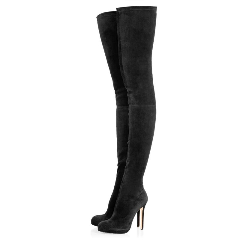 Women Shoes Platform Strech Over-the-knee Long Boots Sexy Thin High Heels Women Warm Shoes Fashion Round Toe Thigh Boots 35-43Women Shoes Platform Strech Over-the-knee Long Boots Sexy Thin High Heels Women Warm Shoes Fashion Round Toe Thigh Boots 35-43