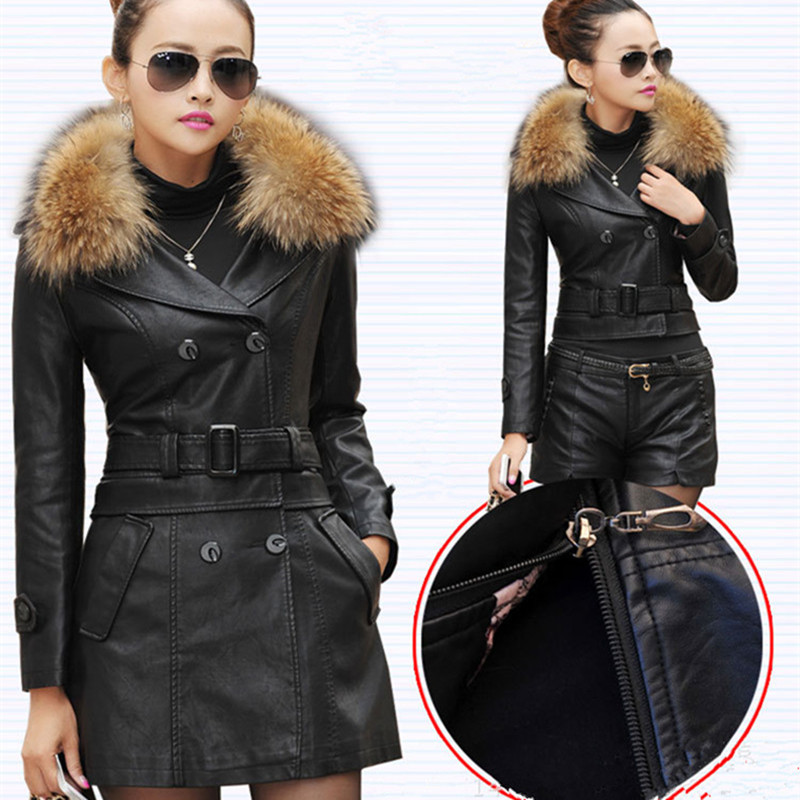 M 5XL Autumn And Winter New Women Genuine Racoon Dog Fur Collar Long Leather Jacket Fashion