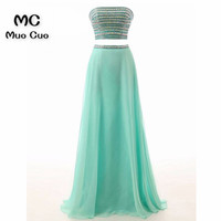 New 2018 Aqua Mint Prom Dresses Long with Crystals Sweetheart Two Pieces Gown Formal Beaded Evening Dresses for women