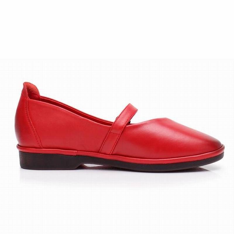 À Boucle Chaussures La En Femme Sport gris Véritable Cuir Mode Confortable rouge Main Appartements Et Noir De Douce Femmes Mocassins Sangle Gktinoo jaune Opqg587wxx