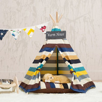 Pet Teepee for Travel Mini House Soft Dog Bed Pet House Washable Dog Cat Mat Tent High Quality Cute Dog Supplies Warm Sleeping
