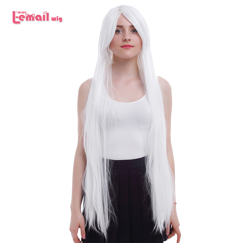 L-email Wig Brand New Long Straight Cosplay Wigs 100cm/39.37inch White InuYasha Sesshoumaru Synthetic Hair Perucas Cosplay Wig