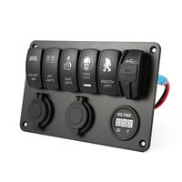 5 PIN 6 Gang Car Marine Boat Caravan Led Rocker Switch Panel With Dual USB Charger Cigarette Socket 12v 24v Auto Switches