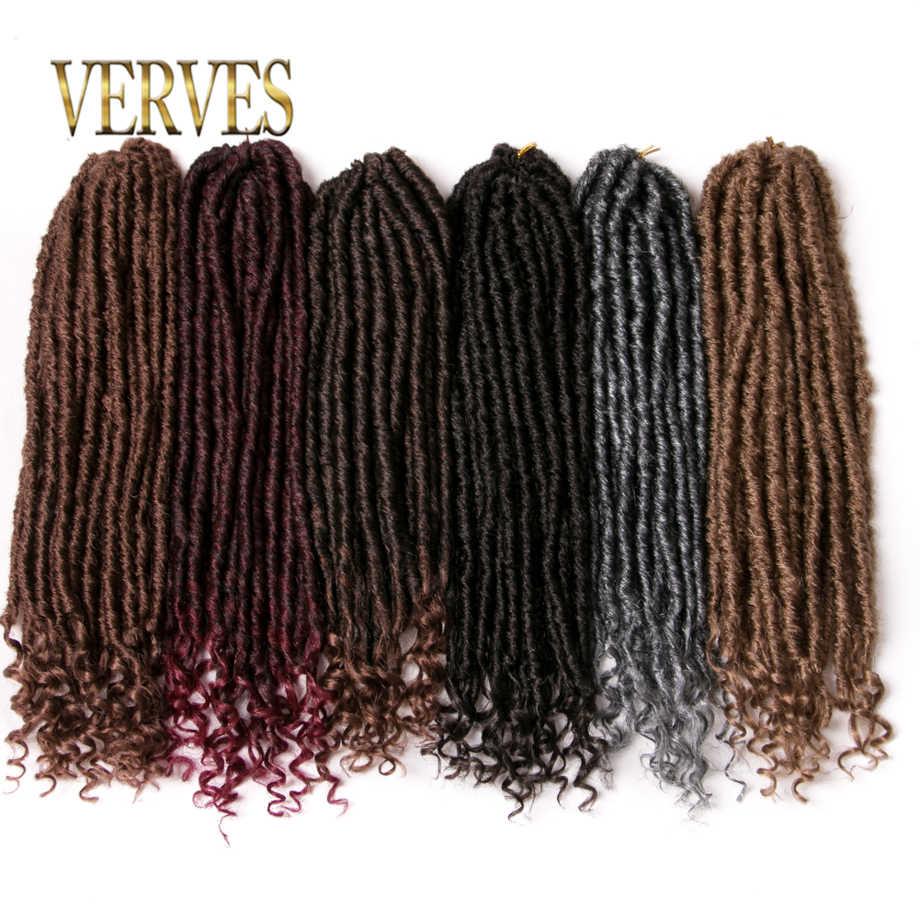 VERVES вязание крючком дреды наращивание волос 18 дюймов Крупногабаритные дредс прическа плетеные косы Омбре серый, коричневый, черный плетение волос