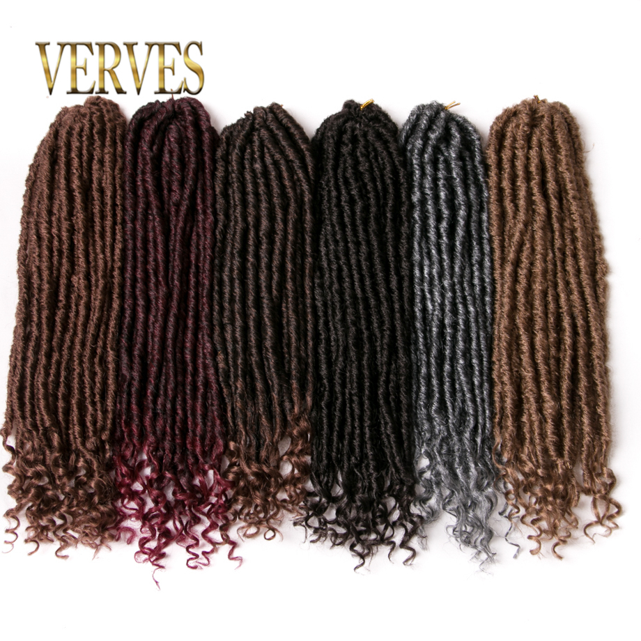 VERVES Crochet Dreadlocks Hair Extensions 18 inch Kanekalon Jumbo Dreads Hairstyle Ombre Crochet Braids grey,brown,black