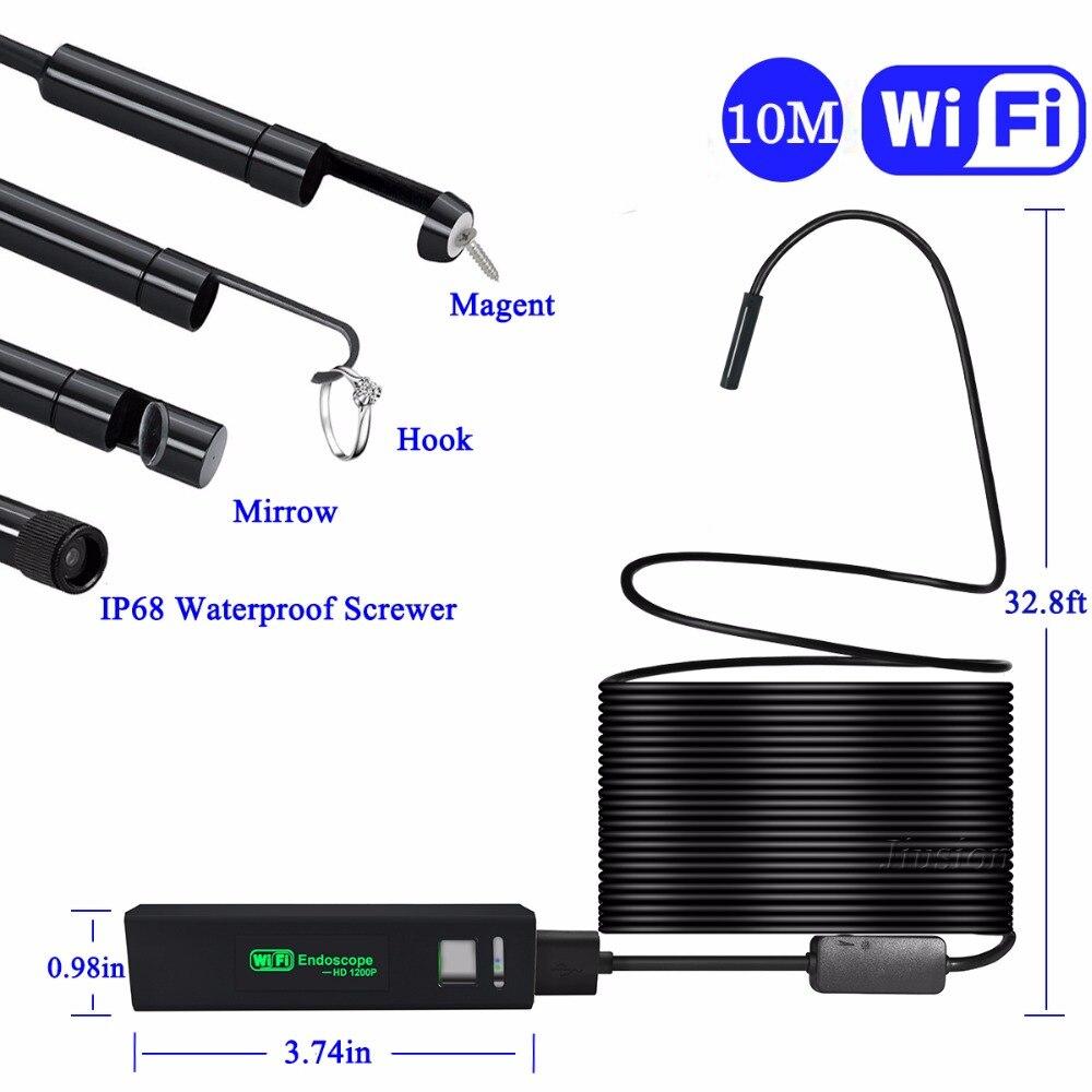 1200P HD Semi-rigid Hard Cable WiFi Endoscope for iPhone Samsung Android Mac Window Borescope Inspection Mini Camera Waterproof