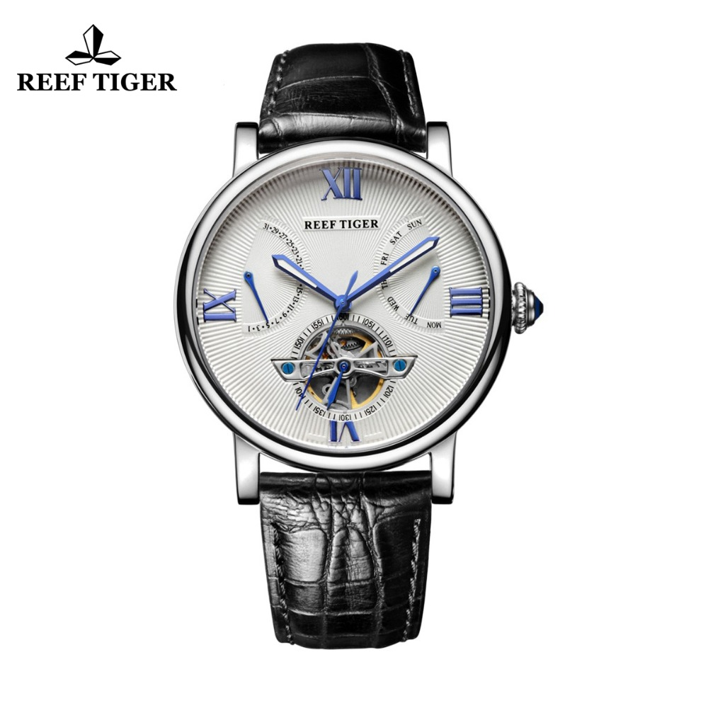 Reef Tiger/RT Tourbillon дизайнерские часы наивысшего качества часы с датой день и телячьей кожи часы для мужчин RGA191