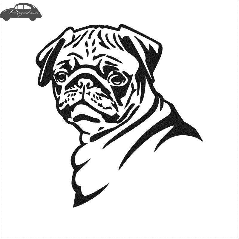 Pegatina Car Pug Dog Sticker Pet Shop Decal Posters Vinyl Wall Art Decals Quadro Parede Decor Mural Pet Shop Sticker