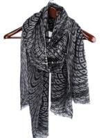 new arrival 100%goat wool women black grey plaid printed scarfs shawl pashmina 75x200cm small scattered tassel