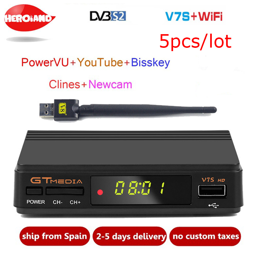 5 шт. DVB-S2 приемник бесплатно СБ V7S HD Поддержка резких перемен температуры Newcamd PowerVu Biss Wi Fi 3g Youtube USB PVR GTMedia V7S HD же свободно СБ V7
