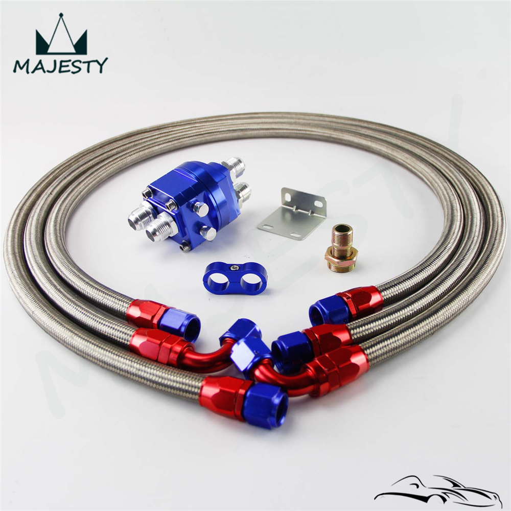 AN10 Aluminum 10 AN Relocation Oil Filter Sandwich Adapter kit Fittings Oil Fuel line kit for