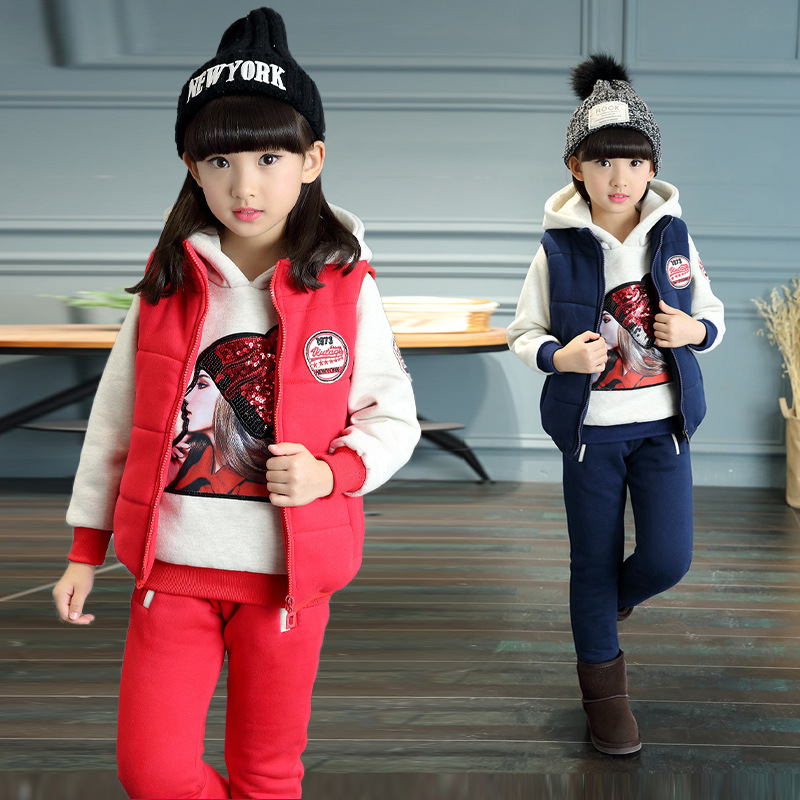 Children's Velvet Clothing Set 2017 Winter Tracksuit for Girls Sports Suit Hoodie Clothes Girls 3-12years Clothes Sets 3pc girls clothing sets cotton velvet fashion pink sports suit brand new 2017 autumn spring girls tracksuit kids clothes size 3 14