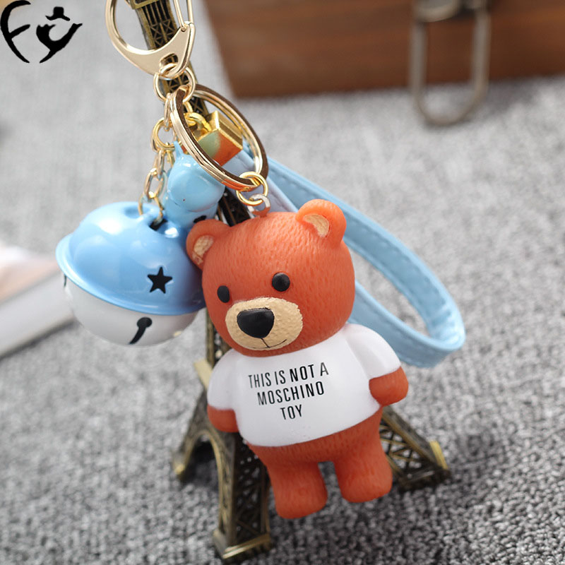 Multi color bell teddy bear keyChains buckle girls bag Pendant bracelet