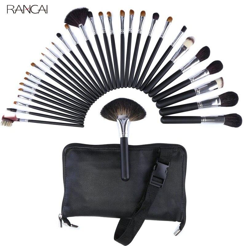 Ensemble de pinceaux de maquillage professionnels 32 pièces pinceau de Contour en poudre pour cheveux de chèvre pincel maquiagem Kit complet cosmétique avec sac en cuir